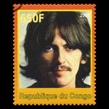 George Harrison Beatles Postage Stamp from Congo. REPUBLIQUE DU CONGO - CIRCA 2007: A postage stamp portraying an image of George Harrison, one of the Beatles Royalty Free Stock Photos