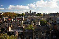 George Heriot's School viewed from Castle Rock Stock Photos