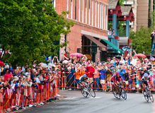George Hincapie sprinting to the win. Aspen, CO - Aug. 24: A packed crowd cheers George Hincapie of BMC racing team on his final sprint to the finish winning the Stock Images