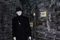 Orson Welles wax figure, Madame Tussaud`s Museum Vienna. George Orson Welles was an American actor, director, writer, and producer who worked in theatre, radio royalty free stock photography