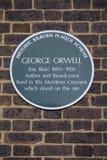 George Orwell plakieta w Londyn Zdjęcie Royalty Free