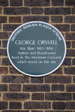 George Orwell Plaque i London Royaltyfri Foto