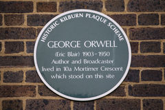 George Orwell Plaque in London Royalty Free Stock Photo