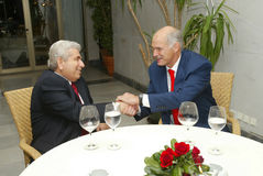 George Papandreou et Dimitris Christofias Photographie stock libre de droits