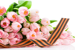 George Ribbon And Tulips Isolated On White Backgro Royalty Free Stock Photo