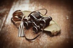 George Ribbon, casquillo del forraje, prismáticos Fotos en estilo retro 9 de mayo Victory Day Fotografía de archivo