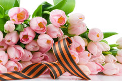 George ribbon and pink tulips Royalty Free Stock Photography