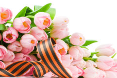 George ribbon and pink tulips Royalty Free Stock Photos