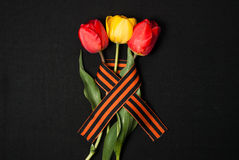 George ribbon, red and yellow tulips Stock Images