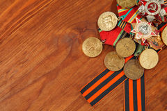 George's Ribbon and Medals for the victory over Germany in the Great Patriotic War of 1941-1945. horizontal shot Stock Images