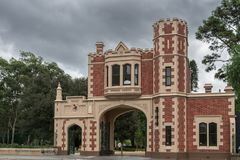 George Street Gatehouse entrance to Domain, Parramatta Australia. Parramatta, Australia - March 24, 2017: Red brick with beige trim, castle-like George Street Stock Photography