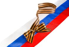 George tape on Russian flag Royalty Free Stock Photo
