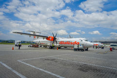 George Town, Malaisie - 10 mars 2017 : Avion de Malindo dans l'aéroport de Penang, filiale au deuxième plus grand petit prix Photo stock