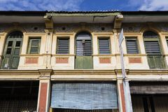 George Town, Malaysia, December 19 2017: Facade of the old building. Located in UNESCO Heritage Zone, Penang in Malaysia Stock Photos