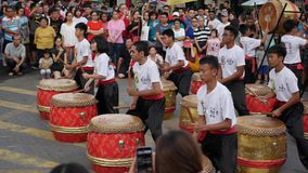 George Town, Malaysia - 9 February 2019, Young drums team performing during the celebration of Chinese New Year. Footage