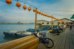 George Town, Malaysia - March 10, 2017: Clan Jetties are unique Chinese settlements existing since the 19th century. Along these wooden pier are villages that Royalty Free Stock Photography