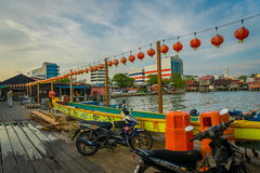 George Town, Malaysia - March 10, 2017: Clan Jetties are unique Chinese settlements existing since the 19th century. Along these wooden pier are villages that Royalty Free Stock Photo