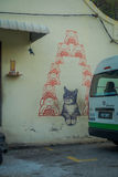 George Town, Malaysia - March 10, 2017: Love Me Like Your Fortune Cat mural, street art in the city. George Town, Malaysia - March 10, 2017: Love Me Like Your royalty free stock photography