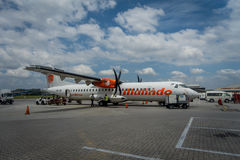 George Town, Malaysia - March 10, 2017: Malindo airplane in Penang Airport, subsidiary to the second largest low-cost. Airline in Southeast Asia, Lion Air Royalty Free Stock Photography