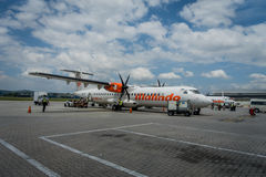 George Town, Malaysia - March 10, 2017: Malindo airplane in Penang Airport, subsidiary to the second largest low-cost. Airline in Southeast Asia, Lion Air Stock Photo