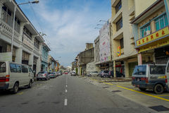 George Town, Malaysia - March 10, 2017: Streetscape view of buildings and daily life of the second largest city in Royalty Free Stock Photos