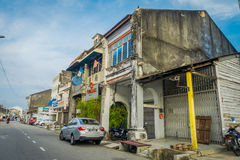 George Town, Malaysia - March 10, 2017: Streetscape view of buildings and daily life of the second largest city in Royalty Free Stock Photo