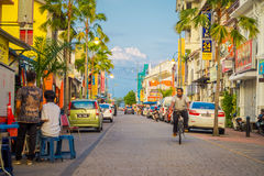 George Town, Malaysia - March 10, 2017: Streetscape view of colorful shops and daily life of the second largest city in Stock Photo