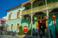 George Town Malaysia - mars 10, 2017: Den Pinang Peranakan herrgården, är ett museum som innehåller antikviteter och att ställa u royaltyfri foto