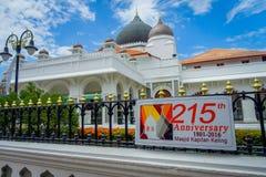 George Town Malaysia - mars 10, 2017: Kapitan Keling moské som byggs i det 19th århundradet av indiska muslimska affärsmän och Arkivbild