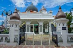 George Town Malaysia - mars 10, 2017: Kapitan Keling moské som byggs i det 19th århundradet av indiska muslimska affärsmän och Arkivfoton