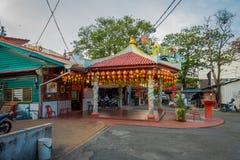 George Town Malaysia - mars 10, 2017: Klanbryggor är unika kinesiska bosättningar som finns efter det 19th århundradet Arkivbild