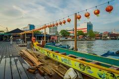 George Town Malaysia - mars 10, 2017: Klanbryggor är unika kinesiska bosättningar som finns efter det 19th århundradet Arkivbilder