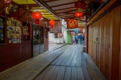 George Town Malaysia - mars 10, 2017: Klanbryggor är unika kinesiska bosättningar som finns efter det 19th århundradet Royaltyfri Foto