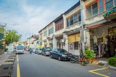 George Town Malaysia - mars 10, 2017: Streetscapesikt av byggnader och dagligt liv av den andra - största staden in Royaltyfria Bilder