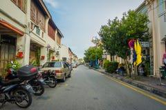 George Town Malaysia - mars 10, 2017: Streetscapesikt av byggnader och dagligt liv av den andra - största staden in Arkivfoto