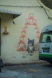 George Town, Malesia - 10 marzo 2017: Amimi come il vostro murale del gatto di fortuna, arte della via nella città fotografia stock libera da diritti