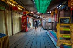 George Town, Malesia - 10 marzo 2017: I moli del clan sono stabilimenti cinesi unici che esistono dal diciannovesimo secolo Fotografie Stock Libere da Diritti