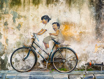GEORGE TOWN, PENANG, MALÁSIA - CERCA DO JULHO DE 2014: Arte pública no miliampère imagem de stock royalty free