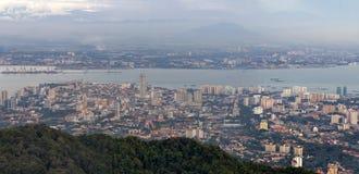 George Town Penang Malaysia Aerial-Ansicht Lizenzfreies Stockbild