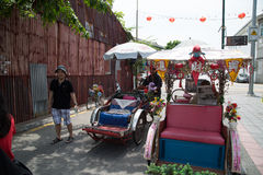 GEORGE TOWN,PENANG ,MALAYSIA- CIRCA March 26, 2015: Trishaw vint Royalty Free Stock Images