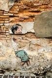 George Town Penang Malaysia envejeció la pintada muchacho de julio de 2015 Fotos de archivo