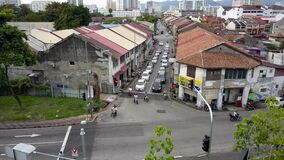 Aerial resident cycle at old street Jalan C.Y. Choy