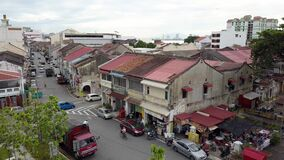 Aerial view old shop house at Jalan C.Y. Choy.