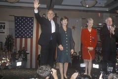 George W. Bush and John McCain. George W. Bush, Mrs. Bush, Senator and Mrs. John McCain at campaign rally, Burbank, CA in 2000 Royalty Free Stock Images