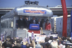 George W. Bush, Mrs. Bush and politicians viewed by spectators at Oxnard, CA train station for campaign whistle-stop tour, 2000 Stock Image