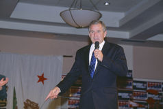 George W. Bush speaking at campaign rally, Burbank, CA in 2000 Stock Image