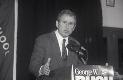 George W. Bush speaking at Londonderry High School, NH, January 2000 Stock Images