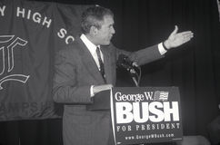 George W. Bush speaking at Londonderry High School, NH, January 2000 Royalty Free Stock Photos