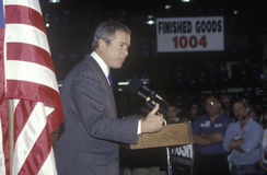 George W. Bush speaking from podium at campaign rally, Laconia, NH, January 2000 Stock Photography