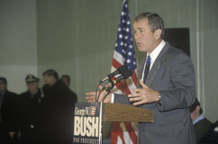 George W. Bush speaking from podium at campaign rally, Londonderry, NH, January 2000 Royalty Free Stock Photo
